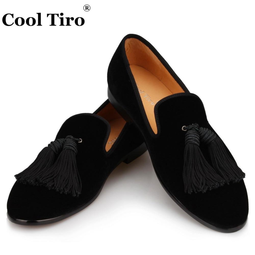 Cool Tiro hommes chaussures faites à la main noir velours mocassins hommes glands pantoufles robe de mariée chaussures décontracté appartements en cuir véritable-in Chaussures d'affaires from Chaussures    1