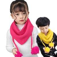 New Baby Girls Scarf Boys Scarf Kids Burp Cloths Triangle Bib Scarf With Pom Pom Balls