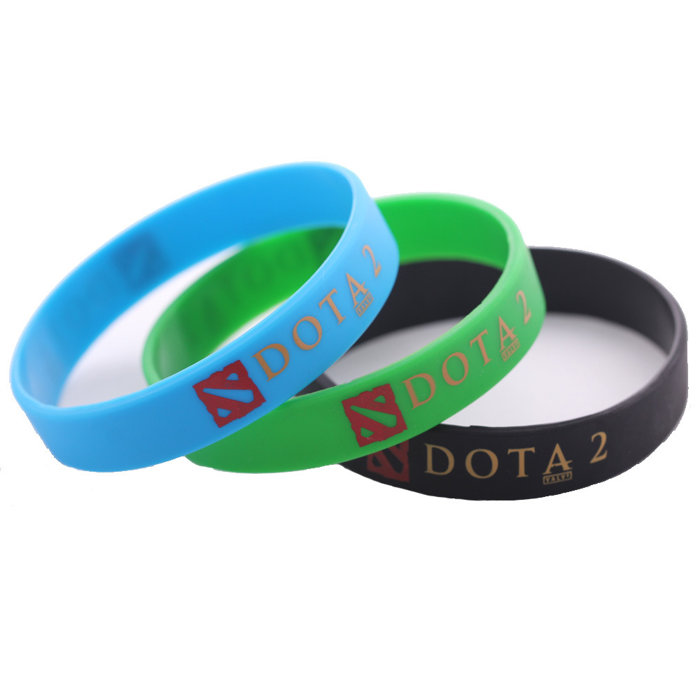 Fashion Jewelry DOTA 2 Silicone Rubber Bracelets Black Blue Green Dota2 Bracelet Braclet Braslet Christmas Gift for boys Men