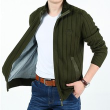 M-3XL!Spring And Autumn Male Plus Size Sweater Mandarin Collar Leisure Cardigan Knitting Sweater With Velvet Thickening Sweater