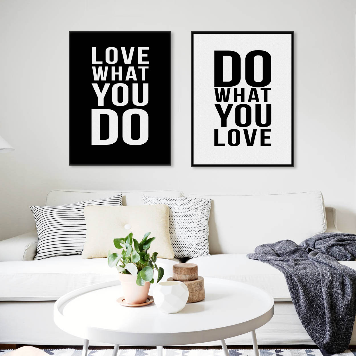 √Modern Minimalist Black White Motivational Love Quotes Canvas Art ...