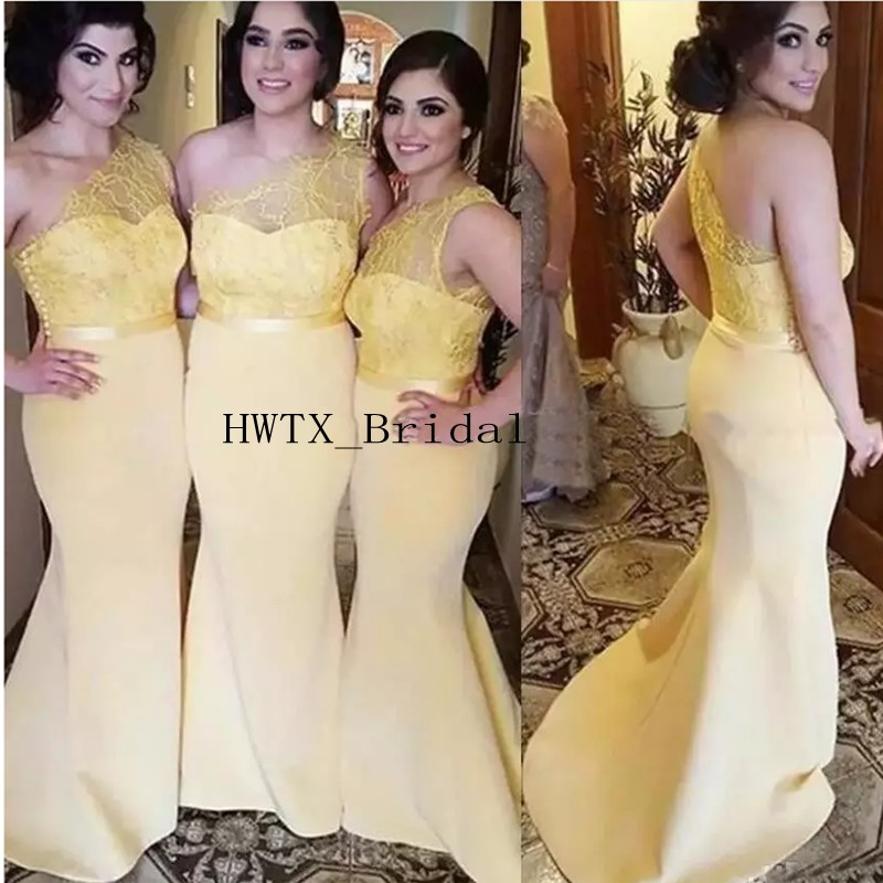 Yellow One Shoulder   Bridesmaid     Dresses   2019 New Sexy Mermaid Long Lace Satin Cheap Wedding Guest   Dress   Arabic Women Formal Gowns