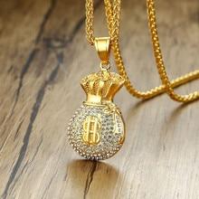 купить Hip Hop Titanium Steel with Rhinestone Purse Money Pendant & Necklace For Men Jewelry wholesale дешево