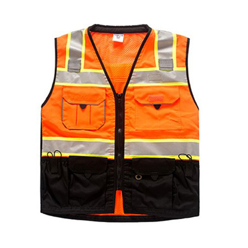EN471 Two tone Fluorescent yellow orange&black safety reflective vest knitted mesh vest