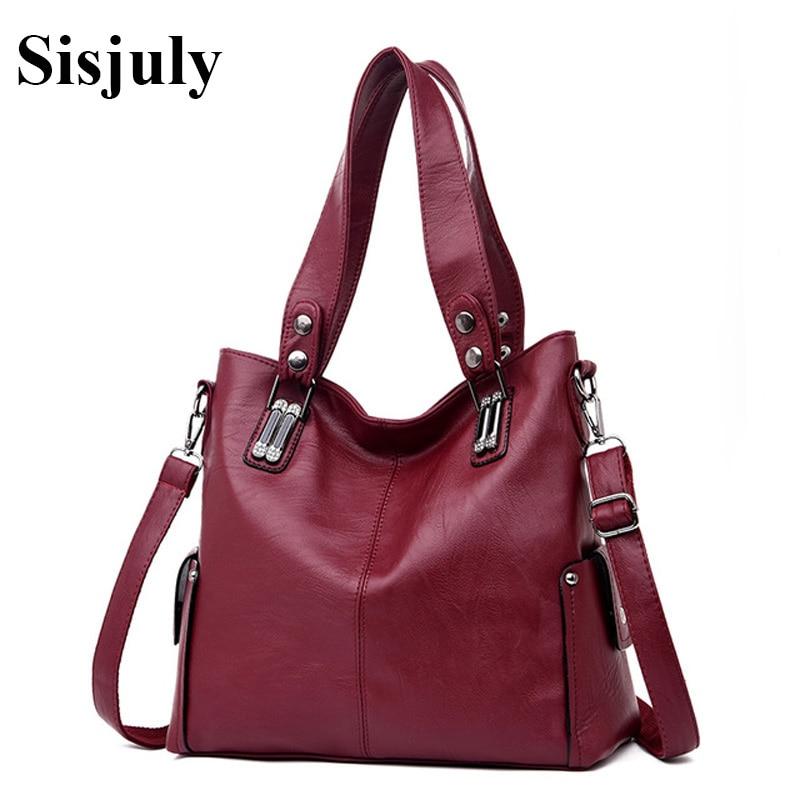 Sisjuly Genuine Leather Handbags Women Bags Large Capacity Totes Women Fashion Shouolder Crossbody Bags Ladies Messenger Bags