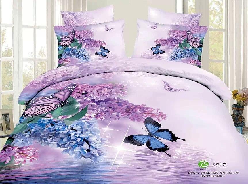 3d Bedding Set 4pcs Queen Size Unique Beautiful Butterfly