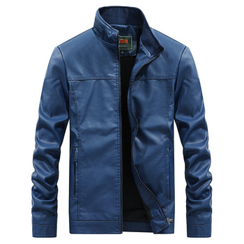 2019 men faux leather jacket winter fur coats large size biker motor leather jacket male Spring and autumn outerwear tops blue