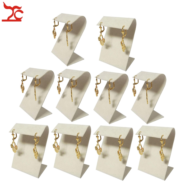 Wholesale l0pcs lot Jewelry Display Professional Props 5 5 X 4 X8cm Beige Suede Z Shaped