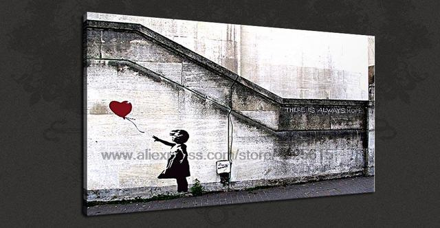 banksy peinture acrylique grande toile peinture murale bureau ba ballon fille espoir graffiti. Black Bedroom Furniture Sets. Home Design Ideas