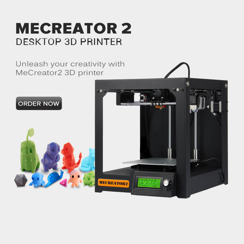 Geeetech 3D Desktop Printer MeCreator 2 DIY Assembly Machine Kit with LED 110V/220V Optional High Quality