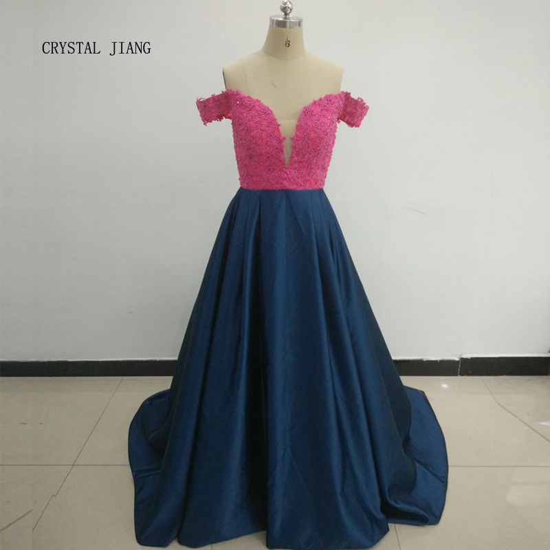 CRYSTAL JIANG 2018 New Design Sexy Sheer V Neck Fuchsia Lace Applique Beaded Light Navy Satin Ball Gown Contrast Evening Dresses
