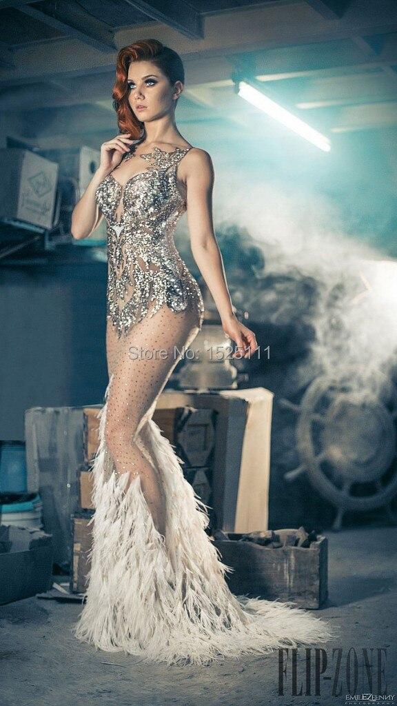 Luxury Gatsby Dress Feather Dress Sequin Mermaid Prom Dress Floor