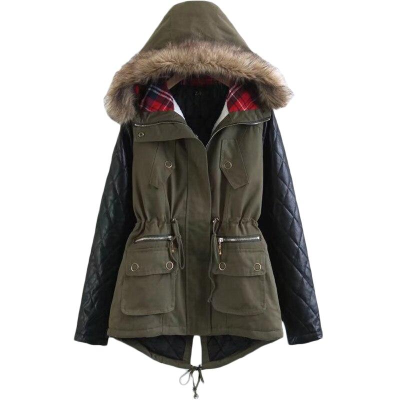 2017 Winter&Fall New Fashion Women Coat Patchwork Womens Long PU Leather Sleeve Jacket Coat Windbreaker Fur Hooded Outwear XH190