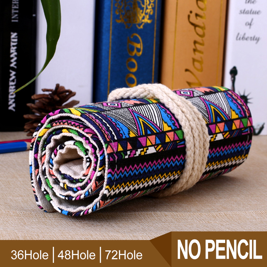 Pen Pencil Case Students 36 48 72 Holes Vintage Pencil Case Roll Brush Pen Storage Bag For Painting School Supplies in Storage Bags from Home Garden