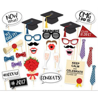 2017 New 20Pcs Set Creative Graduation Paper Beard Photo Booth Props Funny DIY Bachelor Cap PhtotoBooth