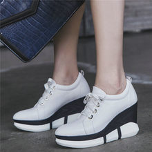 Punk Sneakers Women Creepers Genuine Leather High Heel Party Pumps Shoes Round Toe Wedges Platform Oxfords Casual Trainers