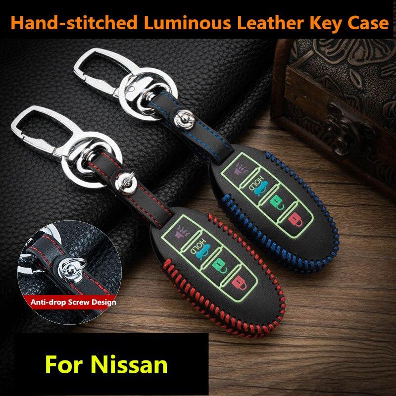 Светящиеся кожаные чехлы для ключей для Nissan Versa Maxima Altima Rogue Armada Sentra Murano Infiniti FX35 QX60