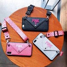 Роскошный розовый блеск вышивка кожа чехол для iPhone 7 Plus Мода волновой точки шнурки чехол для iPhone XS Max X 8 6 6s плюс
