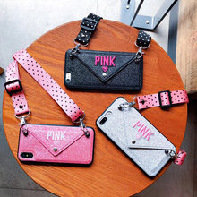 Luxury PINK Glitter Embroidery Leather Case for iPhone 7 7Plus Fashion Wave Point Lanyard Case For iphone XS Max X 8 6 6s Plus(China)
