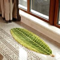 Creative Leaf Shape Green Microfiber Carpet Area Rugs Absorbent Anti Slip Vacuum Pad Kitchen Mat Door