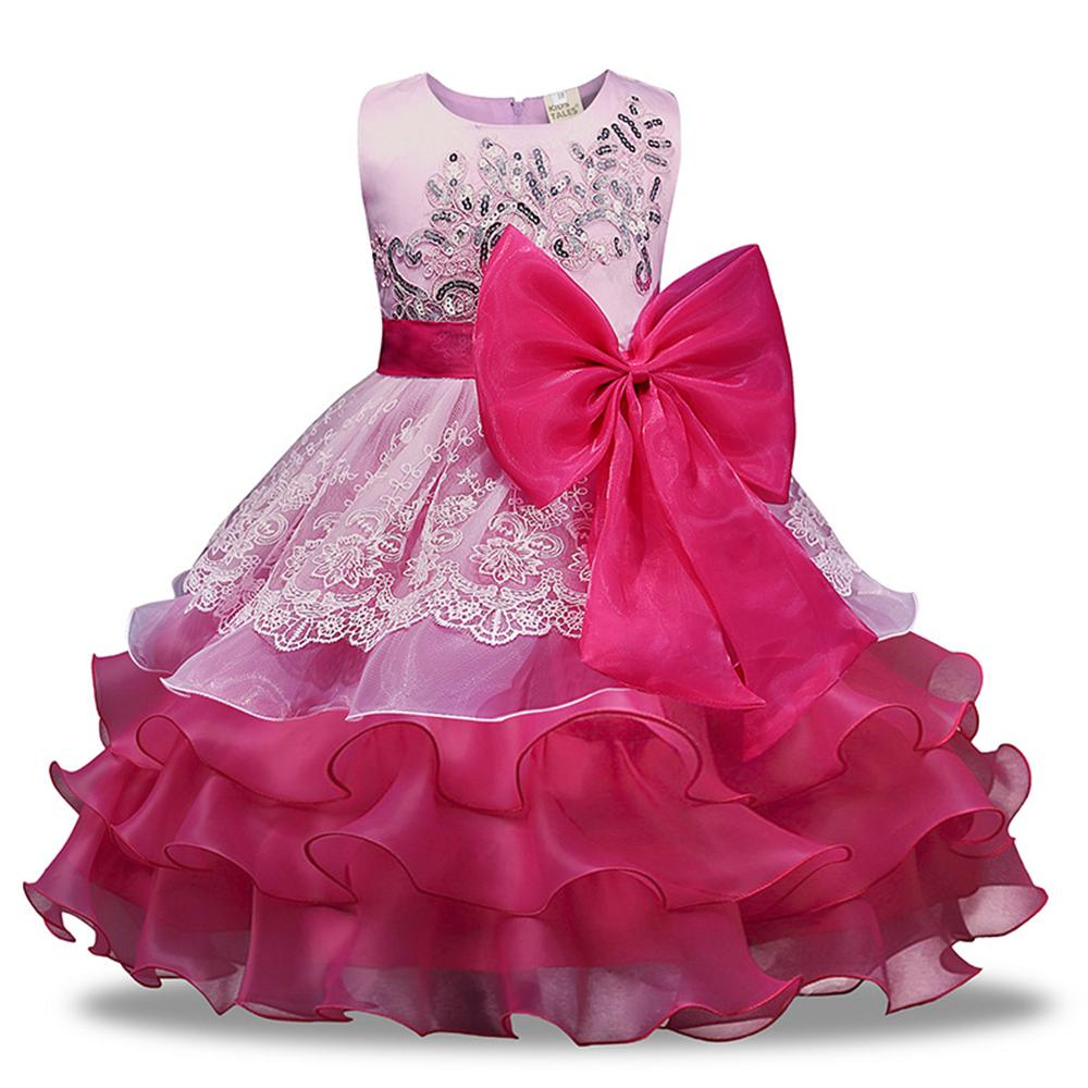 Children Princess Dress for Wedding Birthday Party and Prom Flower Sleeveless Girls Clothes 3 4 5 6 7 8 Year Kids Sequins Dress