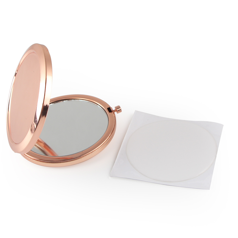 Round Mirror Compact Blank Plain rose gold Colour For DIY gift mirror
