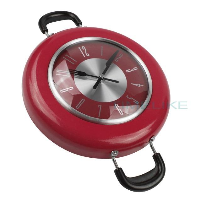 2017 New Decorative Kitchen Wall Clock Metal Frying Pan Design 10 Inch Clocks Novelty Art Watch Relogios de Parede Horloge