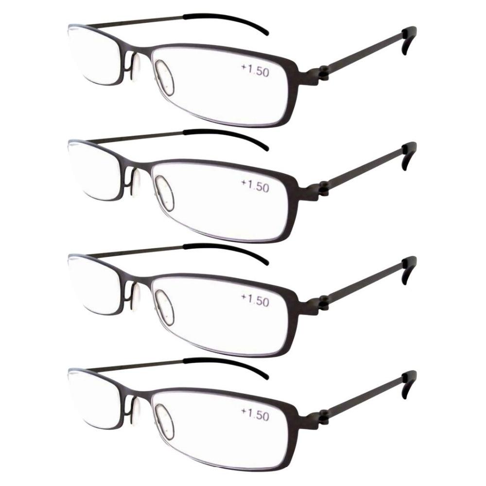 Eyekepper 4-Pairs R12019 Dell acciaio Inossidabile Cornice Occhiali Da  Lettura Gunmetal + 1.0 1.25 1.50 1.75 2.0 2.25 2.5 2.75 3.0 3.5 4.0 f6cd108cf51