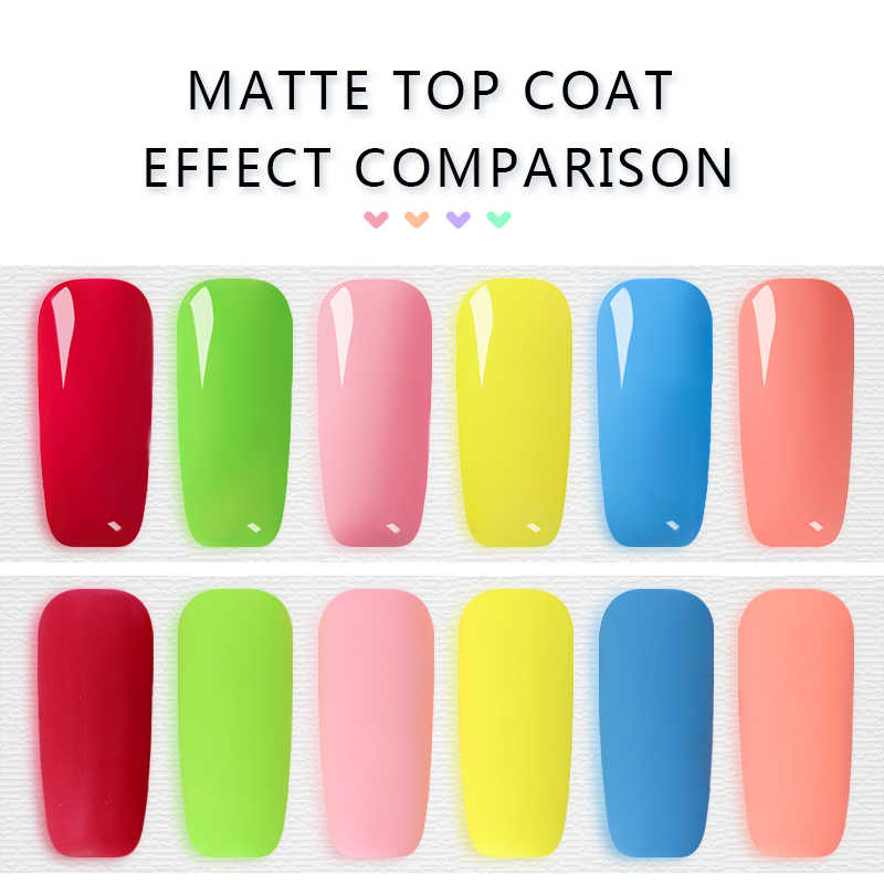 Rencontrez à travers la couche de finition mate Gel couleur Pure Nail Art Gel vernis Semi Permanent UV tremper hors Gel vernis 7ML couche de finition couche de Base