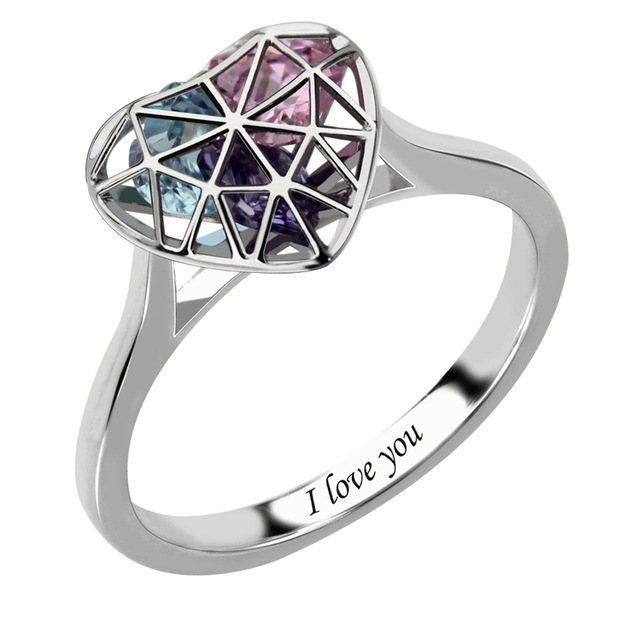 Silver Heart Cage Ring With Birthstones Engraved Mother's Ring Love Promise Ring for Her