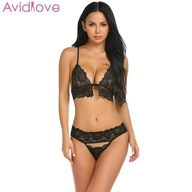 98e2c1abd43 Avidlove Women Sexy Costumes Suits Sexy Lingerie Lace Floral Bra Panty With  Hand Ring Lingerie Set Night Wear lenceria femenina
