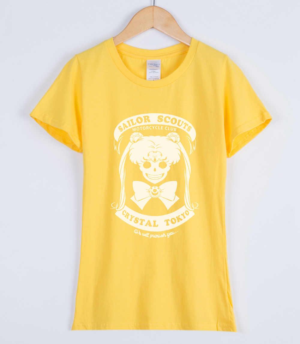 Cartoon Sailor Moon 2019 Vrouwen T-shirts Japan Kawaii Cool vrouwen Kleding Self-Ontwerp Gothic Lolita Punk T-shirt Leuke top Shirt