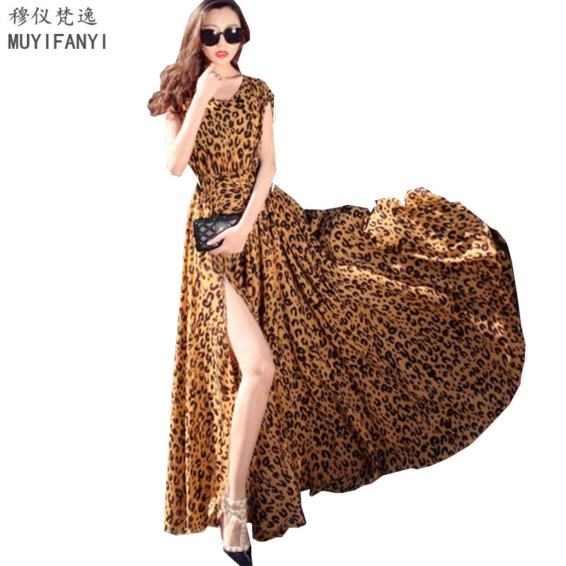 2017 European Brand Elegant Women Party Dress Leopard Print Chiffon Bohemian Beach Sexy Maxi Long Dress Vestidos D175