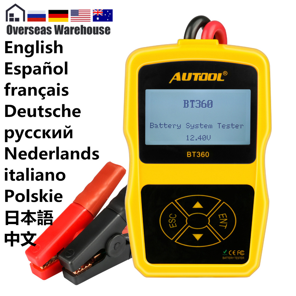 AUTOOL BT360 12V Auto Battery Tester 12v Car Battery Analyzer Cranking Multi-Language Diagnostic Tool Performance Than Bt460