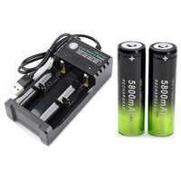2x batería 18650 3,7 V 5800 MAH batería recargable de iones de litio + 1 cargador de batería inteligente para linterna frontal