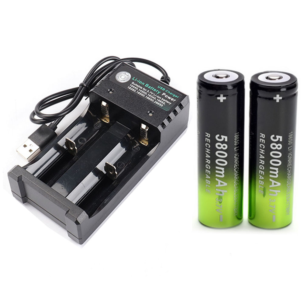 2x  Battery 18650 3.7 V 5800 MAH Li Ion Rechargeable Battery +1 Battery Charger Intelligent For Flashlight Headlamp