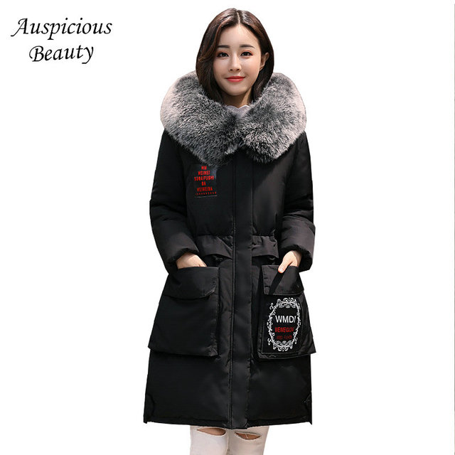 6429bb74d US $107.67 |2017 Winter Women Snow Cotton Padded Coat Female Hooded Fur  Collar Long Slim Winter jackets Ladies Parka Women's Coats CXM319-in Parkas  ...
