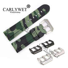 CARLYWET 24mm Wholesale Camo Light Green Waterproof Silicone Rubber Replacement Wrist Watch Band Strap Belt For Luminor