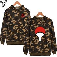 BTS Classic Naruto Cartoon Camouflage Hooded Winter Hoodies Men Casual Uchiha Syaringan Cartoon Sweatshirt Men Casual Clothes