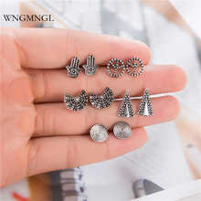 WNGMNGL 5 Pairs/Set 2018 Bohemia Retro Geometric Peace Hand Triangle Silver Color Earrings Set for Women Party Statement Jewelry