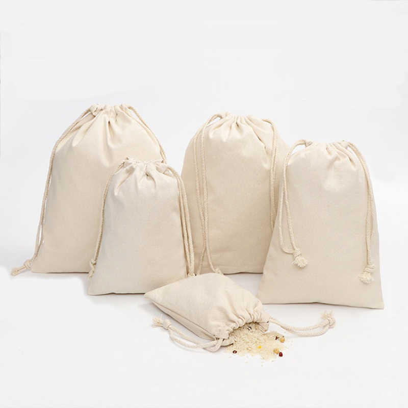 8453e4e56c Canvas Gift Bag with Drawstring Cotton Muslin Favor Bags for Coffee Beans  Jewelry DIY Craft Storage