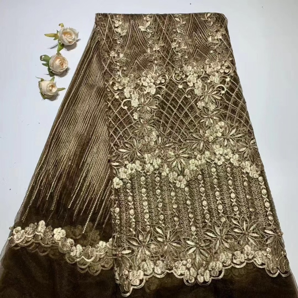 New Design  African Nigerian Tulle Lace Fabric High Quality 2019 Latest African Net Lace With beads Lace 5YardsNew Design  African Nigerian Tulle Lace Fabric High Quality 2019 Latest African Net Lace With beads Lace 5Yards