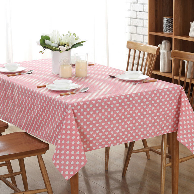 Incroyable Free Shipping Christmas Pink Love Heart Simple Love Square Tablecloths  Cotton Linen Tablecloth Rectangular Table Cloth