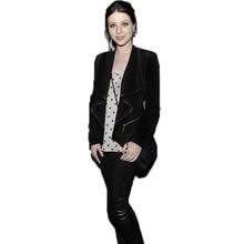 Loose Type Women Colthing Zipper Thin Coat Fight Skin Lapel Irregular Cardigan Jacket