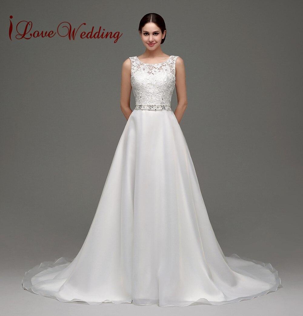 In Stock White Wedding Dress Lace Vestido De Noiva A Line Backless Beaded Sashes Casamento Floor