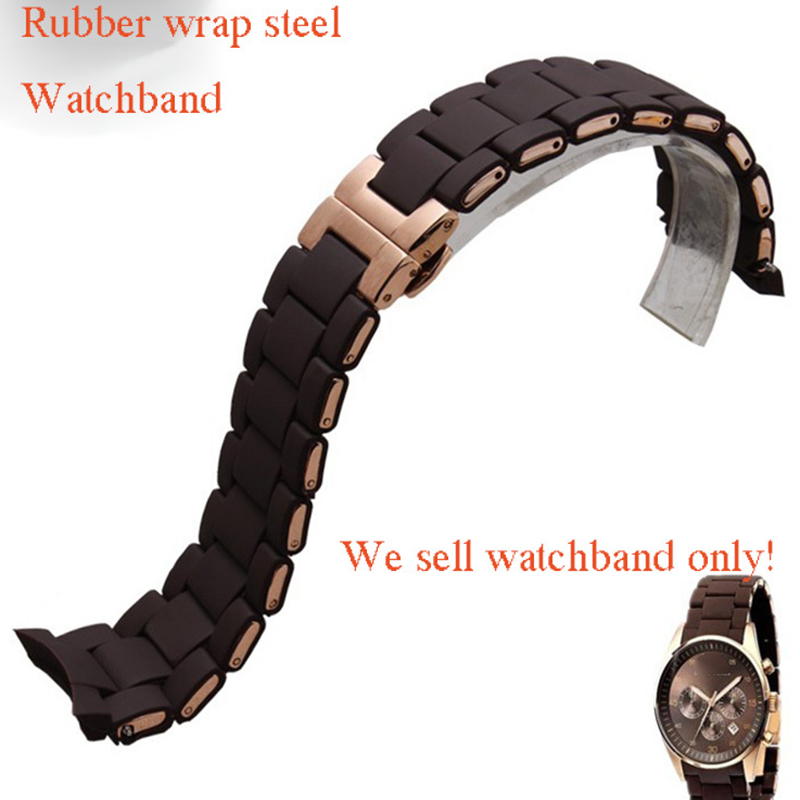Curved End Watchbands Brown Rubber wrap Rose-gold Stainless Steel Watch Strap Bracelet for men women watch Brand luxury fashion цена