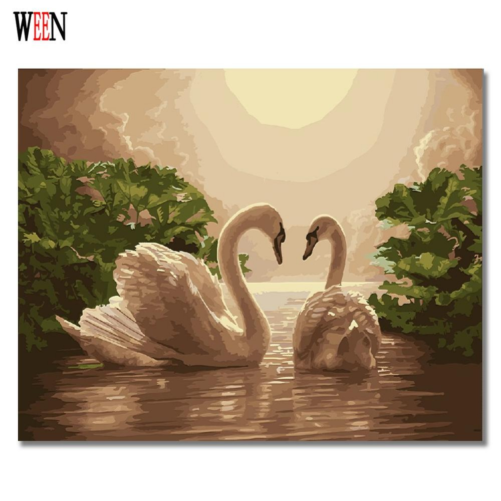 Elegant Swan Home Decor DIY Cool Painting By Numbers Gift Coloring By Numbers Picture Canvas Lovely Painting Wall Painting