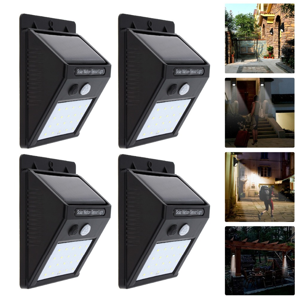 4PCS 20 LEDs Waterproof Solar Power PIR Motion Sensor Wall Led Light Outdoor Street Yard Path Home Garden Security hanging Lamp led solar power lamp pir motion sensor wall light 73 leds outdoor waterproof energy saving street yard path garden security lamp