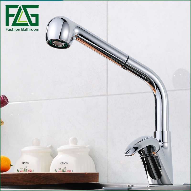 Best Quality Wholesale And Retail Chrome Solid Brass Water Power Kitchen Faucet Swivel Spout Pull Out Vessel Sink Mixer Tap new pull out sprayer kitchen faucet swivel spout vessel sink mixer tap single handle hole hot and cold