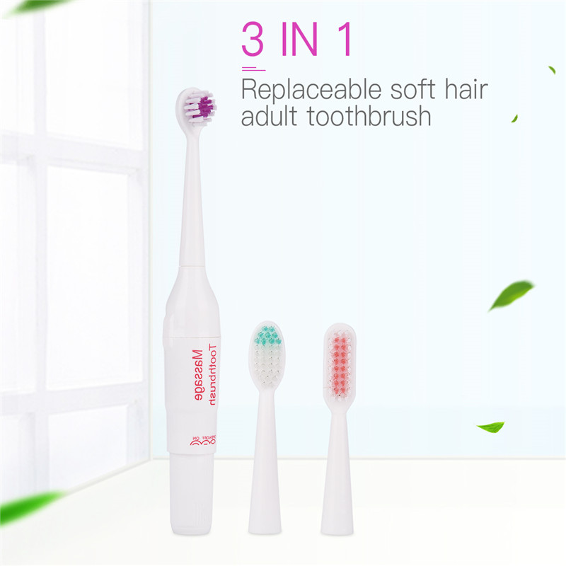 Hot Sale Electric Tooth Brush Anti-bacterial Soft Bristles Portable Battery Operated Vibrate Toothbrush + 2 Teeth Brush Heads 42 denture cleaning brush multi layered bristles false teeth brush oral care tool bristles page 8